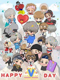 Bts Taehyung, Bts Bangtan Boy, Bts Jimin, V Chibi, Anime Chibi, Bts Memes, Bleach Couples, Bts Birthdays, Cartoon Fan