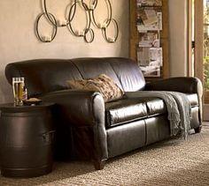 Manhattan Leather Sofa #Pottery Barn