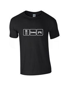 Mens Eat Sleep Game Black T-shirt