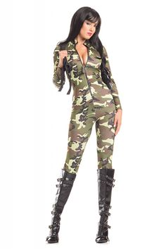 ad5239c2ba31 Sexy Be Wicked Green Camouflage Tantalising Trooper Army Soldier Military  Cadet Halloween Party Costume Jumpsuit Sexy