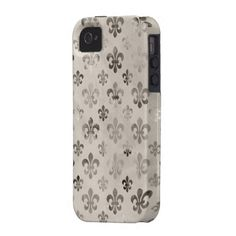 Trendy Distressed Silver Grey Fleur De Lis Pattern iPhone 4/4S Cases