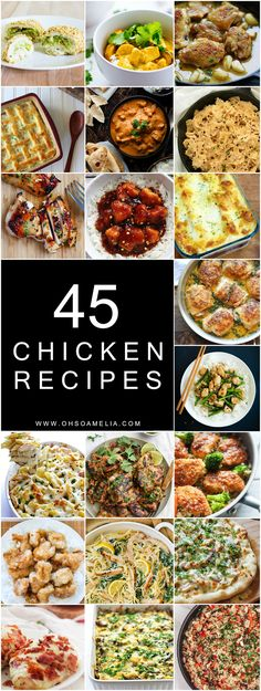 If you're looking for some new meal inspiration for your weekly meal plan take a look at these 45 Chicken Recipes! From one pot dishes to enchiladas there's something for everyone!