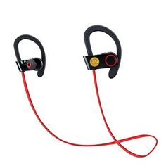 Wireless Bluetooth Sports Headphones Sweatproof Mini Stereo Earphones w/ Mic for iPhone Samsung HTC (Red). Premium Built Bluetooth Headset Headphones Stereo In-Ear Earphones with Comfortable Earhooks for Running, Jogging, Hiking, Biking, Gym and numerous outdoor activities. Compatible with all Bluetooth-enabled devices such as iPhone 6 / 6 Plus, 6S / 6S Plus, 5S 5C, 5, 4 / 4s, iPod, iPad 2 / 3 / 4 / 5, iPad Mini, iPad Air, HTC One, Blackberry, Samsung Galaxy Note Series, S6 Edge, Nokia…