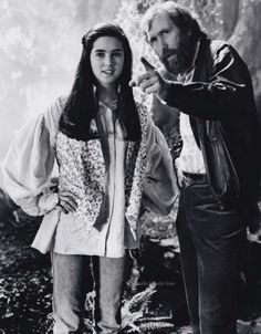 Jennifer Connelly with Jim Henson on the set of Labyrinth.    This photo originates from The Jennifer Connelly Center.
