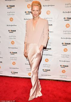 Tilda Swinton Could 'Give You a Boner', Amy Schumer Says at Gotham Awards!: Photo Tilda Swinton is pure elegance while attending the 2014 Gotham Independent Film Awards held at Cipriani, Wall Street on Monday (December in New York City. Tilda Swinton, Celebrity Dresses, Celebrity Style, Looks Style, My Style, Calvin Klein Euphoria, Blush Gown, Gold Gown, Haider Ackermann