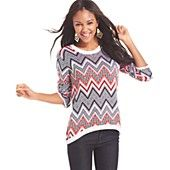 Say+What?+Juniors'+Zigzag+High-Low+Graphic+Sweater