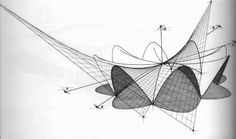 Diagram of the intersection paraboloids in Felix Candela's Manantiales Restaurant in Xochilmico, 1958