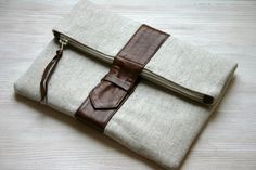 Fold over leather and canvas clutch brown Linen by HelloVioleta, $41.00