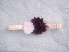 Brown and Ivory shabby headband on metallic by LittleAlmondBlossom, $6.00