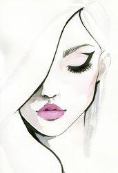 Fashion illustration face drawing portraits 36 Ideas for 2019 Fashion Illustration Face, Watercolor Illustration, Watercolor Art, Illustration Girl, Watercolor Fashion, Fashion Illustrations, Portrait Illustration, Makeup Illustration, Pencil Art Drawings