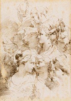 Gaetano Gandolfi -A Sheet Of Studies Of Heads Of...