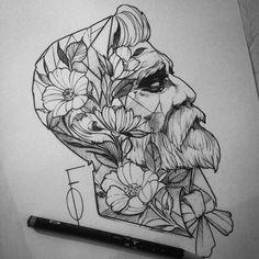 """Estudo que fiz essa semana """"homem estampado"""" #blxckink #blacktattooart #onlyblackart  #draw #drawing  #sketch by fredao_oliveira"""