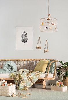 Kids Room Ideas: Wood Details and Vintage Touches Wicker bed + nostalgic details Living Room Decor, Bedroom Decor, Bedroom Ideas, Bedroom Lighting, Modern Bedroom, Dining Room, Kids Bedroom Furniture, Grey Furniture, Furniture Design