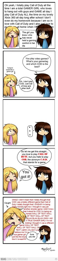 """Gamergurl"" V.s. Girl Gamer. Sooooo true! I hate girls who do this!"