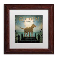 Ryan Fowler 'Moonrise Dog Golden Pond' White Matte, Wood Framed Wall Art