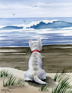 "Amazon.com: ""West Highland Terrier at the Beach"" Westie Art Print Signed by Artist DJ Rogers: Watercolor Paintings"