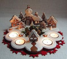 Simple way to have a gingerbread village, flat cookies in a scene