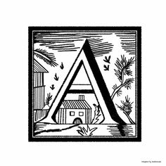 Woodcut Letter A - to color or use as you like.