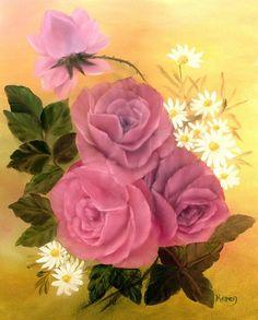 Pink Roses Oil Painting on Canvas Board 16 x by KarenUnderwoodArt, £35.00