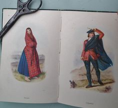 Highland Dress by George F. Collie With Colour Plates from McIan's the Clans of the Scottish Highlands. A King Penguin Book First Edition, 1948. Sold by 'SoMuchFrippery' vintage shop on etsy -  https://www.etsy.com/uk/shop/SoMuchFrippery?ref=pr_shop_more Vintage 1940s book featuring antique tartan costume. Plate on the left features a Scottish woman dressed in red tartan
