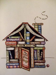 house of books illustration I Love Books, Books To Read, My Books, Reading Quotes, Book Quotes, World Of Books, I Love Reading, Reading Art, Reading Nook