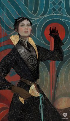 Temperance is video game concept art for Dragon Age Inquisition. The image features Cassandra, one of the major characters from video game series Dragon Ag