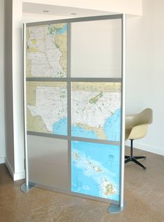 DIY panels with maps for LOFTwall divider screen