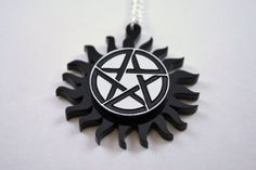 Supernatural Necklace - TV Pentagram Charm - Laser Engraved Acrylic Medallion – LicketyCut $15