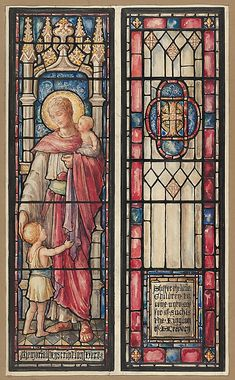 Designed and drawn by D. Maitland Armstrong (American, 1836–1918). Suffer the Little Children to Come Unto Me: Design for Two Panels in a Stained Glass Window, 1890-1918. The Metropolitan Museum of Art, New York. Gift of Helena Bienstock, Cynthia MacKay Keegan and Frank E. Johnson, 2012 (2012.400.22) #kids