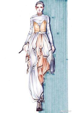 服装插画 彩铅效果图 服装设计 人物画-堆糖,美好生活研究所 Fashion Design Portfolio, Fashion Design Drawings, Fashion Sketches, Fashion Artwork, Fashion Painting, Croquis Fashion, Dress Design Sketches, Fashion Illustration Dresses, Fashion Design Template