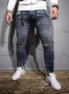 P&V men slim fit soft denim jeans joggers - washed blue. Biker Jeans, Denim Jeans, Estilo Tomboy, Style Masculin, Mens Joggers, Best Jeans, Mens Fashion, Urban Fashion, Men Casual