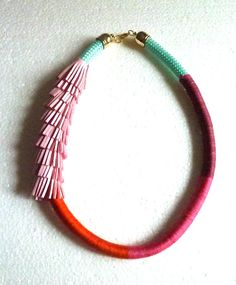 Hey, I found this really awesome Etsy listing at https://www.etsy.com/listing/184658001/ombre-wrapped-rope-necklace-and-pink