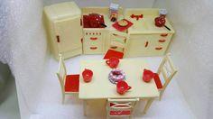 Renwal Red Retro Kitchen Toy Dollhouse Fridge by MinimalScratch