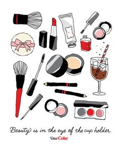 Red lipstick? Check. Blush? Check. Ice cold Diet Coke to sip while I do my makeup? Check! I always keep the essentials in my cosmetics bag.