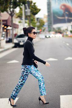 :: print pants, how haute ::    Wearing-- Bebe Top, ASOS pants, Christian Louboutin pumps, Chanel bag, Prada sunglasses, AxxA Schmuck-Atelier cuff, Gojana rings