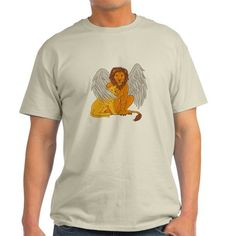 Winged Lion With Cub Under Its Wing Drawing T-Shir