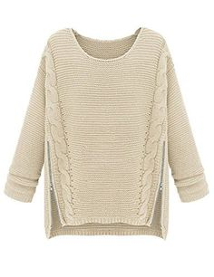 To find out about the Apricot Long Sleeve Side Zipper Cable Knit Sweater at SHEIN, part of our latest Sweaters ready to shop online today! Loose Sweater, Beige Sweater, Cable Knit Sweaters, Pullover Sweaters, Zip Sweater, Sweater Coats, Sweater Weather, Jumper, Thick Sweaters