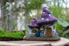Needle Felted little mushroom house by Harthicune by Harthicune