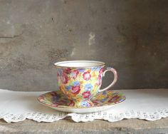 Vintage Porcelain Coffee Cup and Saucer by RosaMeyerCollection