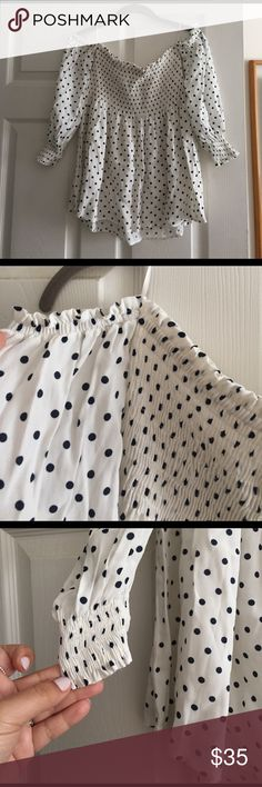 Polka dot open shoulder strapless top So on trend and a must have for this season!! The top is super comfortable and wearable! I purchased it while in Monaco and have not wear it! Brand new with tag! Zara Tops Blouses