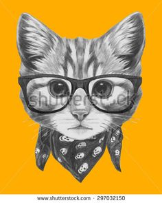 Hand drawn portrait of Cat with glasses and scarf. Vector isolated elements. - stock vector