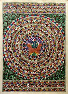 Madhubani painting, 'Peacock Dance I' by Bharati Dayal
