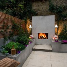 Garden Designers London, Garden Design in London Garden Design London, London Garden, Modern Garden Design, Contemporary Garden, Fireplace Seating, Backyard Fireplace, Modern Outdoor Fireplace, Outdoor Fireplaces, Stucco Fireplace