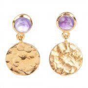 """Arracades banyades en or model """"Cleo"""", amb pedres semiprecioses disponibles en diversos colors. Un disseny original i adequat per a moltes ocasions."""