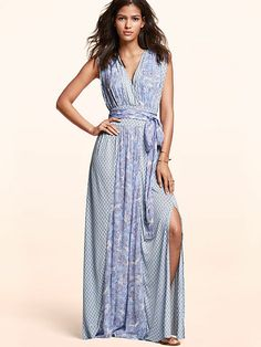 NWT Victoria's Secret DRESS high low chiffon OMBRE blue navy pink ...