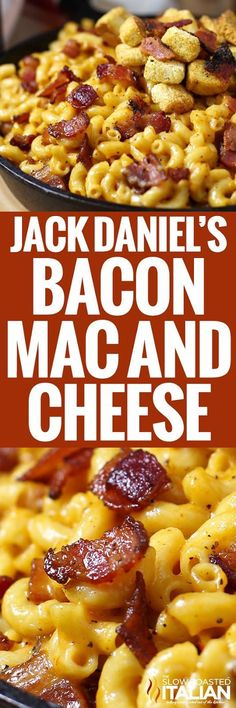 Jack Daniel's Mac and Cheese recipe loaded with hickory smoked peppered bacon, tons of ooey gooey smoky cheese and a selection of spices to wake up all your senses. This is the mac and cheese of your dreams. (cheesy mac and cheese creamy) Good Food, Yummy Food, Tasty, Awesome Food, Pasta Dishes, Food Dishes, Side Dishes, Mac Cheese Recipes, Pasta Recipes
