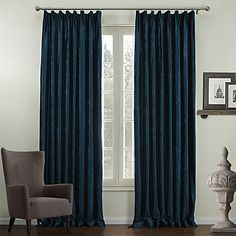 (Two Panels) Traditional Embossed Floral Lined Curtains – USD $ 129.99