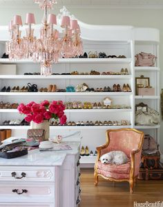 I love this closet cabinet especially the pink chandelier.