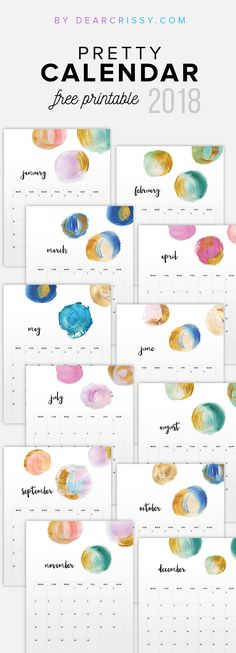 Free 2018 Printable Watercolor Calendar - Modern Paint Colorful Calendar Printable - #FreePrintable #Calendar #2018