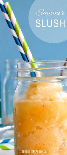 Frozen orange slush recipe. Make a batch to keep in the freezer for a refreshing summer treat!
